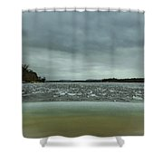 Ice Flow Mississippi River Shower Curtain