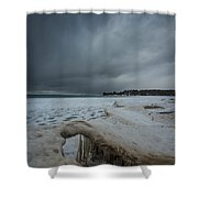 Ice Formations At Cawaja Beach Shower Curtain