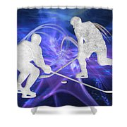 Ice Hockey Players Fighting For The Puck Shower Curtain