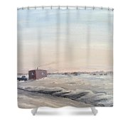Ice Houses On Mille Lacs  Shower Curtain