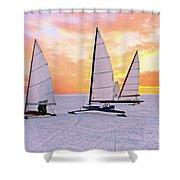 Ice Sailing On The Gouwzee In The Countryside From The Netherlan Shower Curtain