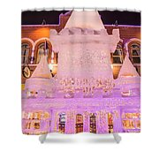 The Annual Ice Sculpting Festival In The Colorado Rockies, The Castle With A Parapet Shower Curtain