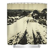 Iced Over Road Shower Curtain