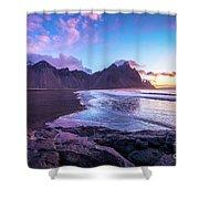 Iceland Beach Sunrise At Stokksnes Shower Curtain