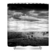 Iceland Black And White Landscape Haukadalur Shower Curtain
