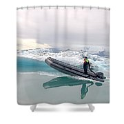 Iceland Glacier Lagoon Shower Curtain by Ambika Jhunjhunwala