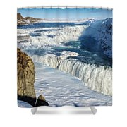 Iceland Gullfoss Waterfall In Winter With Snow Shower Curtain