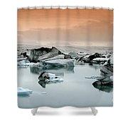 Iceland, Jokulsarlon Glacial Lagoon , Icebergs Melting Shower Curtain