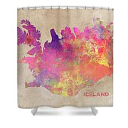Iceland Map Shower Curtain