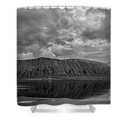 Iceland Mountain Reflections Bw Shower Curtain