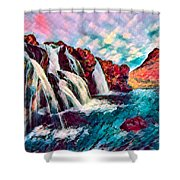 Iceland Waterfalls Shower Curtain