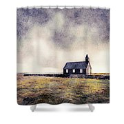 Icelandic Church In Watercolor Shower Curtain by Susan Maxwell Schmidt
