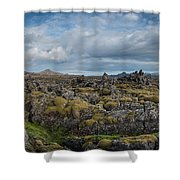 Icelands Mossy Volcanic Rock Shower Curtain