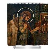 Icon Of Reverend Prince Alexander Nevsky. Saint Petersburg Shower Curtain