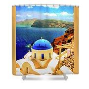Iconic Anastaseos Oia Santorini Greece Shower Curtain