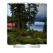 Iconic Maligne Lake And Boat House II Shower Curtain