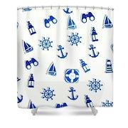 Iconic Nautics Shower Curtain