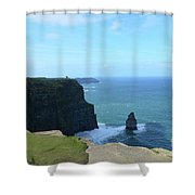 Iconic Needle Rock Formation And The Cliff's Of Moher Shower Curtain