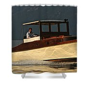 Iconic Wooden Runabout Shower Curtain