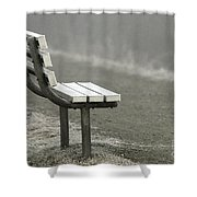 Icy Bench In The Fog Shower Curtain