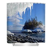 Icy Island View Shower Curtain