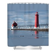 Icy Lighthouse Shower Curtain