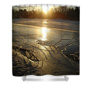 Icy Mississippi River Bank At Sunrise Shower Curtain