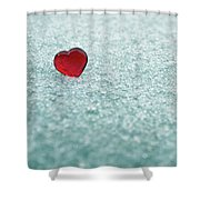 Icy Red Heart Shower Curtain