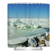 Icy Sculptures On Lake Simcoe Shower Curtain