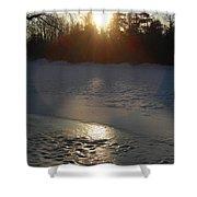 Icy Sunrise Reflection Shower Curtain