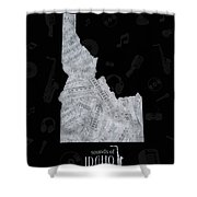 Idaho Map Music Notes 2 Shower Curtain