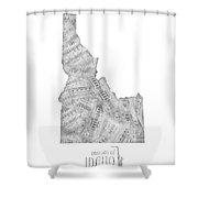 Idaho Map Music Notes Shower Curtain