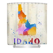 Idaho Watercolor Map Shower Curtain