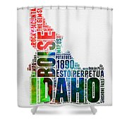 Idaho Watercolor Word Cloud  Shower Curtain