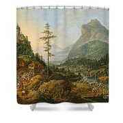 Idealized River Landscape With A Hunting Party Shower Curtain