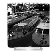 Idle Tour Boats -- Amsterdam In Winter Bw Shower Curtain