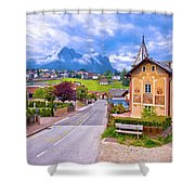 Idyllic Alpine Town Of Kastelruth Architecture And Mountains Vie Shower Curtain