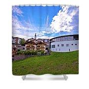 Idyllic Alpine Town Of Kastelruth On Green Hill View Shower Curtain