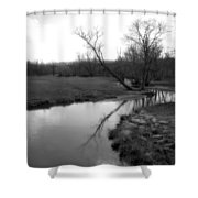 Idyllic Creek - Black And White Shower Curtain