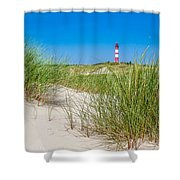 Idyllic Dunes And Lighthouse At North Sea Shower Curtain