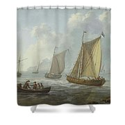 Idyllic Lake Shore With Two Boats Shower Curtain