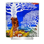 If A Tree Falls In Sicily White Shower Curtain