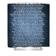 If Poem Blue Canvas Shower Curtain