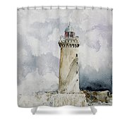 ighthouse Kereon Ouessant island Britain Shower Curtain