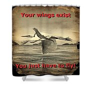 Iguana With Wings Shower Curtain