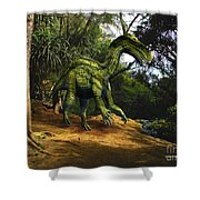 Iguanodon In The Jungle Shower Curtain
