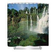 Iguazu Waterfalls With A Rainbow Shower Curtain