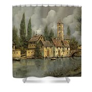 Il Borgo Sul Fiume Shower Curtain by Guido Borelli