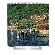 il porto di Bellano Shower Curtain by Guido Borelli