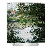 Ile De La Grande Jatte Through The Trees Shower Curtain by Claude Monet